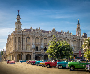 Cuban colorful vintage cars in front of the Gran Teatro - Havana