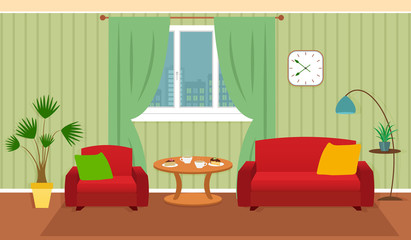 Living room interior including furniture, cityscape in window