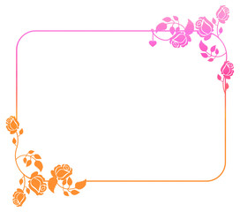Beautiful gradient frame with roses.