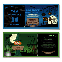 Ticket to Halloween party. Invitation to Halloween night party. Cute young witch in a magic hat in the cemetery. Vector illustration