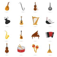 Music instruments color flat set