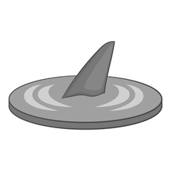 Shark fin icon. Gray monochrome illustration of shark fin vector icon for web design