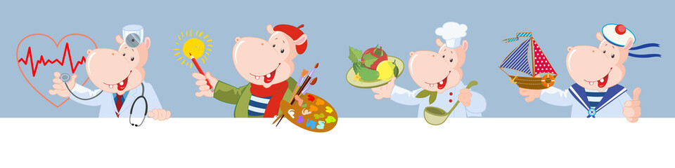 Set of vector characters: happy hippo. Professions: sailor, chef, doctor, artist. Frame for text.