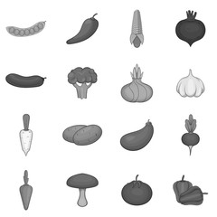 Vegetable icons set. Gray monochrome illustration of 16 vegetable vector icons for web