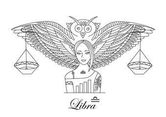 Zodiac sign Libra. Beautiful girl with an owl and weights.