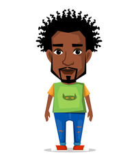 The character of a black man in  flat style