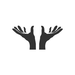 Open hands outline icon vector illustration
