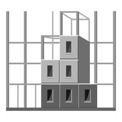 Building construction icon. Gray monochrome illustration of building construction vector icon for web