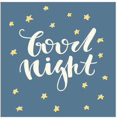Good night. Hand written lettering. Cute hand drawn letters.