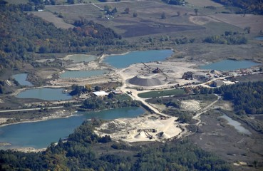 aerial view of sand and gravel quarry near Palgrave Ontario, Canada