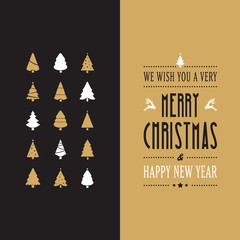 merry christmas type gold black card vintage
