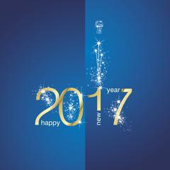 2017 Gold New Year firework blue background