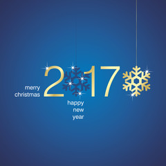 Gold 2017 New Year snowflakes blue background