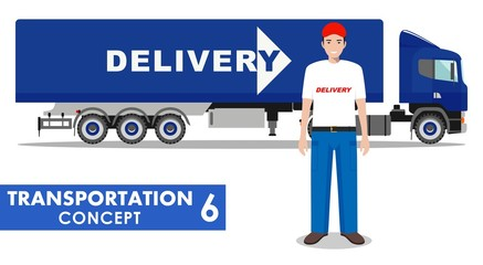 Transportation concept. Detailed illustration of delivery truck and driver on white background in flat style. Vector illustration.