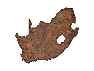 Karte von Südafrika auf rostigem Metall