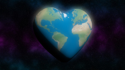 Heart shaped Earth in space illustrating climate change