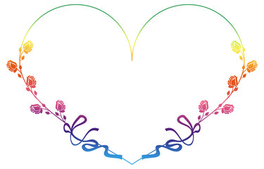 Heart-shaped gradient frame with roses.