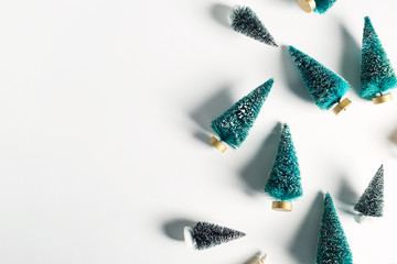 Small Christmas trees from top view