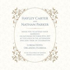 Wedding invitation. Design classic cards.