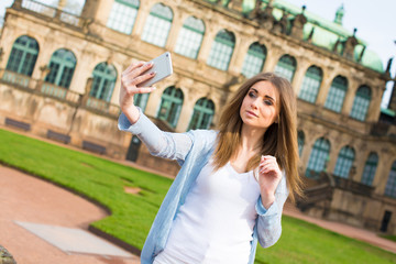 Girl take selfie in Dresden
