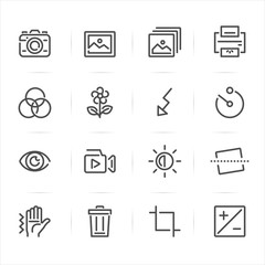 Photography and Function icons with White Background