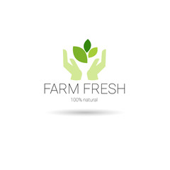 Farm Fresh Eco Friendly Organic Natural Product Web Icon Green Logo Flat Vector Illustration