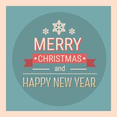 Merry Christmas Happy New Year Celebration Retro Holiday Banner Flat Vector Illustration