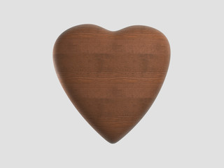 wooden heart shape.3D rendering.