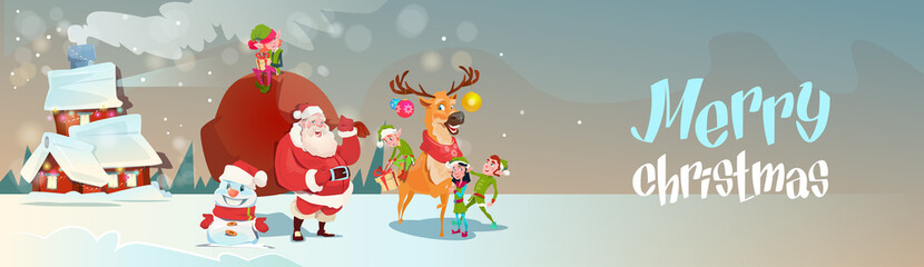 Santa Claus With Reindeer Elfs Gift Sack Coming To House Happy New Year Merry Christmas Banner Flat Vector Illustration