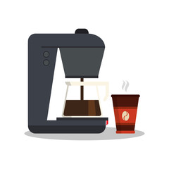 Kettle mug and machine icon. Coffee shop drink and beverage theme. Colorful design. Vector illustration