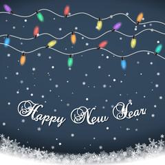 Happy New Year. Luminous Electric Garland,