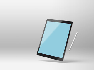 Black mockup tablet on a white background with stylus