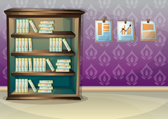 cartoon vector illustration interior library room with separated layers in 2d graphic
