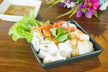 seafood mixed with spicy sauce thai food traditional