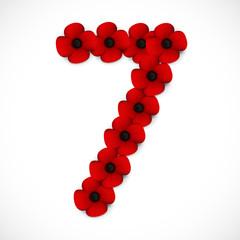 number seven poppy background