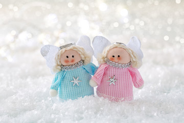 Christmas fun decorative toys on a snowy background .Christmas card.
