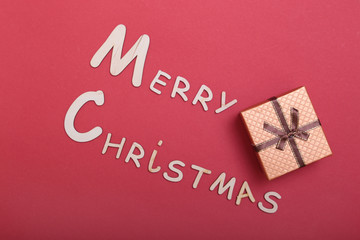 Merry Christmas. greeting card and gift box. Xmas background.