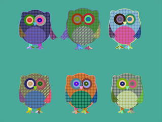 set of cute textile owls