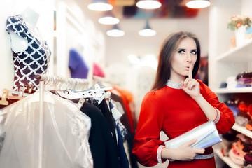 Elegant Woman Keeping a Secret in Fashion Store