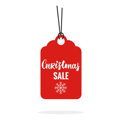 Christmas sale tag sticker vector isolated. Discount or special offer price tag on Christmas sale. Sale label contains hand drawn brush lettering