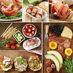 collage, set Italian appetizer antipasti made dish - ham, cheese, peppers