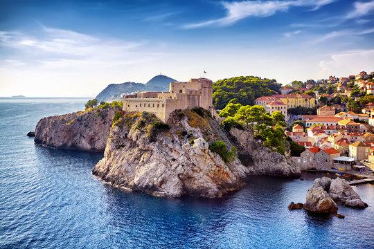 General view of Dubrovnik - Fortresses Lovrijenac and Bokar seen