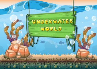 cartoon vector underwater background with separated layers for game art and animation game design asset in 2d graphic