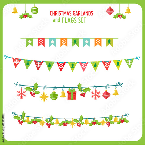 christmas garland and flags set winter holidays vector clip art on white background new