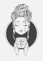 Girl drinking coffee. Black and White print line. Romantic .