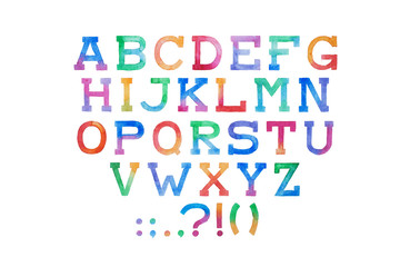 Colorful watercolor aquarelle font type handwritten hand draw abc alphabet letters