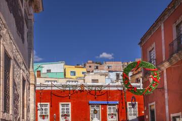 Red Colored Building Christmas Decorations Alhondiga De Granadit