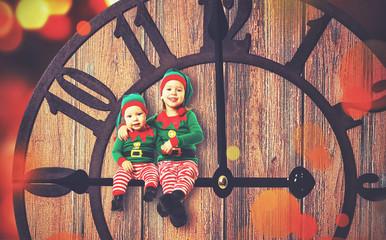 Christmas concept. Two little elf helper of Santa