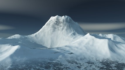 snowy peak of the volcano. Mountain landscape. mountains in the snow.