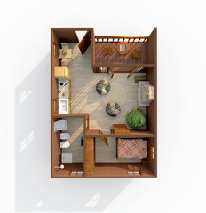 3d interior rendering of brown wooden lodge home apartment